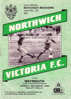 northwich victoria v weymouth 1987/88 conference from $2.82