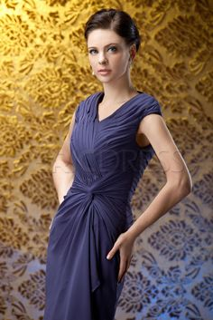 Fashion Ruched Column V-Neck Knee-Length Mother of The Bride Dress Mother of the Bride Dresses 2014- ericdress.com 3821187