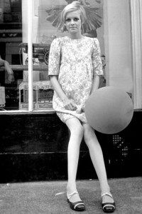 1960s twiggy 13. Very short dress.Twiggy wore the shortest dresses ever, but with no neckline and combined with skin-coloured or white stockings and flats.