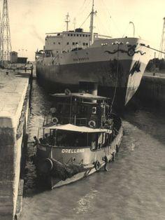 """""""Dea Brovic"""" el barco más grande entrado en el año 1960: 22,96 m. de manga, 166 m. de eslora, bandera de EE.UU."""