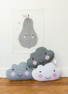 """cloud pillows Happy clouds - I don't know why people put """"tears"""" (rain) in their children's rooms?"""