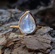 14k Gold Moonstone ring moonstone engagement ring by mossNstone