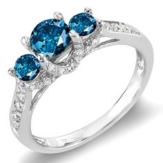 1.00 Carat (ctw) 10k White Gold Round White And Blue Diamond 3 Stone Ladies Bridal Engagement Ring *** Additional details at the pin image, click it  : Engagement Rings Jewelry