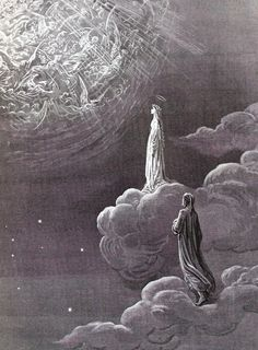 """Gustave Dore's illustrations for the """"Paradiso"""", the third and final part of Dante's Divine Comedy. In this work Paradise is depicted as a series of concentric spheres surrounding the Earth,. Fantasy Kunst, Dark Fantasy Art, Dark Art, Gustave Dore, Dante Alighieri, Renaissance Kunst, Arte Obscura, Occult Art, Biblical Art"""