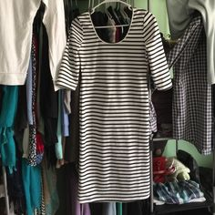 Dainty Hooligan Dress Knee length Dainty Hooligan office dress size medium. Low back feature and scoop neck in front. No signs of wear, worn to work twice, super cute with a black blazer! Francesca's Collections Dresses Midi