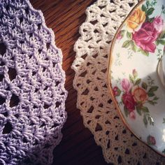 Lavender and Wild Rose: Doily fun!