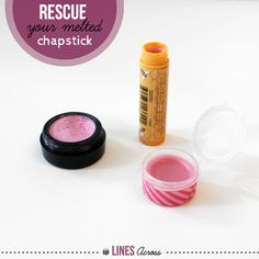 Turn your melted lip balms into glosses. Now THIS I could use! Love my Burt's Bees & have had plenty of them melt or get jacked up one way or another, so I know I'll be glad I pinned this one of these days.