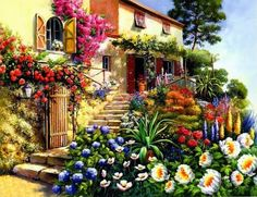 ART~ Oil On Canvas~ A Villa In The Mediterranean Dotted With Flowers.