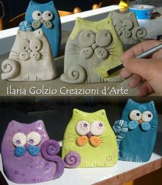 Realizzazione di gatti in ceramica – 2019 - Clay ideas Clay Projects For Kids, Clay Crafts For Kids, Kids Clay, Cat Crafts, Pottery Animals, Ceramic Animals, Clay Animals, Homemade Clay, Pottery Designs