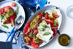Tomato and feta salad with soy-roasted pumpkin seeds, also pickled green tomatoes Pickled Green Tomatoes, Cherry Tomatoes, Chef Recipes, Salad Recipes, Grilled Calamari, Prawn Cocktail, Pumpkin Seed Recipes, Roasted Pumpkin Seeds, Good Food