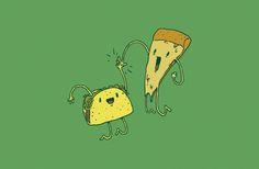 TACO PIZZA HIGH FIVE by RYE-BREAD.deviantart.com on @deviantART