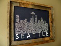 Dark Blue Seattle Skyline Word Art Print by fortheloveofmaps, $22.00