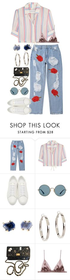 """""""Untitled #2650"""" by sam-laurent ❤ liked on Polyvore featuring Solid & Striped, Yves Saint Laurent, Ray-Ban, Kate Spade, Chanel and Fleur du Mal"""