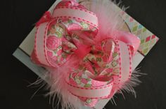 Pink Floral Boutique Bow with Pink Feathers