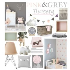Pink & Grey nursery! by tiannabrookie on Polyvore featuring interior, interiors, interior design, home, home decor, interior decorating, Charles and Ray Eames, Toast, Muuto and Crate and Barrel