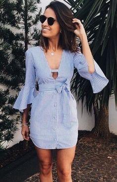 Cute casual blue and white seersucker dress.