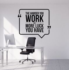 Vinyl Wall Decal Motivational Quote Hard Work Office Decorating Art Stickers Mural (ig4992)