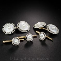 Art Deco Mother-of-Pearl Tuxedo Set. An all white mother-of-pearl (pearl centered) and platinum (over gold), original (circa 1920s) Art Deco dress set to add some muted zest to your next white/black tie affair. A pair of double-sided cuff links and three shirt studs are adorned with finely milgrained, hand pierced circular frames.