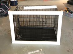 This DIY Dog Crate Furniture Piece Will Transform Your Living Room - dog kennel boarding Dog Crate Table, Diy Dog Crate, Dog Crate Furniture, Furniture Ads, Dog Crate Cover, Airline Pet Carrier, Puppies Tips, Dog Rooms, Diy Holz