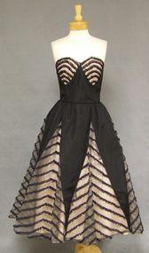 STRIKING 1950's Black Taffeta Cocktail Dress w/ Illusion Inserts