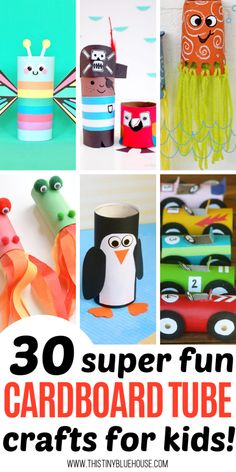 30 Fun Toilet Paper Roll Crafts For Kids – This Tiny Blue House Have hours of crafting fun with these 30 adorable and fun toilet paper roll crafts for kids. Don't recycle those cardboard tubes! Instead, get crafty with one of these super easy tutorials. Easy Arts And Crafts, Paper Crafts For Kids, Crafts For Kids To Make, Fun Crafts, Kids Diy, Decor Crafts, Simple Crafts, Plate Crafts, Summer Crafts