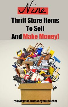 Check out this list of nine things you can find at a thrift store and re-sell at a profit! #sellonline #flippingitems #homebusinessideas Make Money Fast Online, Make Easy Money, Make Money Now, Make Money Blogging, Work From Home Companies, Work From Home Jobs, Cash From Home, Make Money From Home, Sell Your Stuff