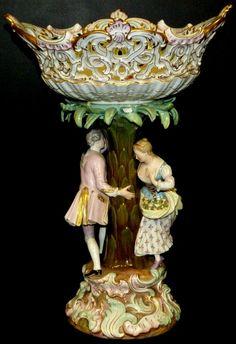 ANTIQUE MEISSEN FIGURAL COMPOTE BOWL,  19th century