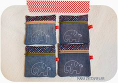 Täschchen aus alten Jeans / Pouches made from old jeans / Upcycling