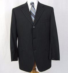 Canali Blazer 44L 100% Wool Pinstripe Three Button Black Striped Sport Coat A4…