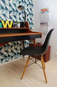 Eames chair and Ferm Living Remix wallpaper
