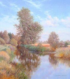 Graham Petley Direct River at Dedham, Suffolk - Originals Throughout The World, Impressionist, Graham, Originals, Britain, Country Roads, River, Fine Art, Landscape
