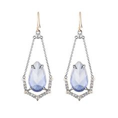Crystal Encrusted Suspended Stone Wire Earring with Spike Accent