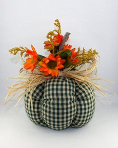 Scarecrow Fabric Pumpkin Handmade Fall by TheTattooedButterfly