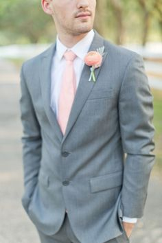 Peach Inspired Southern Wedding Ideas | Flaire Weddings & Events | southern wedding | peach & blue | Kelly Hancock Event Planning www.kellyhancocke... | Theresa NeSmith Photography | southern wedding, southern wedding ideas, wedding planning, peach wedding, gray suit, groom style