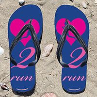 Heart 2 Run on Blue Flip Flops - Kick back after a run with these great flip flops! Fun and functional flip flops for all runners.