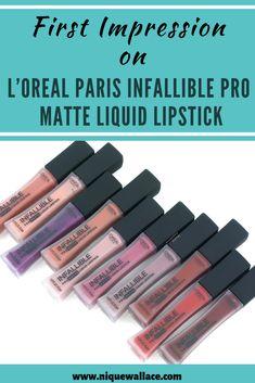 Infallible Pro-Matte Liquid Lipstick by L'Oréal Paris. High pigment matte lipsticks that create long lasting matte lip color lasting up to Drugstore Liquid Lipstick, Drugstore Makeup Dupes, Makeup Brands, Matte Lipsticks, Matte Lip Color, Lip Colors, Makeup Hashtags, Makeup Must Haves, Long Lasting Lipstick