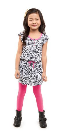 This easy to wear jersey dress is soft, stretchy and packed with fun details. Featuring ruffle sleeves, elastic waist, three functioning buttons, pink neck trim and faux draw string. #FabKids