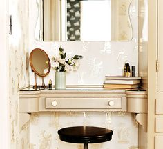 our quirky little duck-leg mirror spotted on this vanity...palihouse-santa-monica