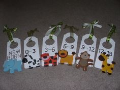 Jungle Nursery Closet Clothing Dividers - want to make my own to match wall stickers!!!