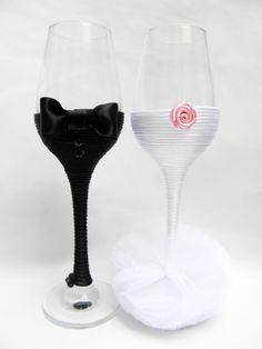 Gafas de mano decoradas boda Champagne por HANDMADEONLYFORYOU