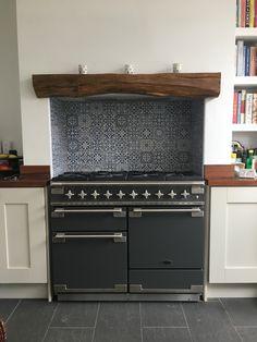 Rangemaster Elise 110 Slate Grey Blue Moroccan tiles Worked solid oak lintel Iroko work top Mussel doors #DIY Kitchens