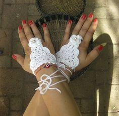 Fingerless gloves crochet wriststrap Crochet sahmeran by MUNIVERSE, $12.00