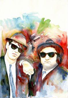 The Blues Brothers, Art Print, Watercolor Painting, John Belushi, custom watercolor portrait, free shipping