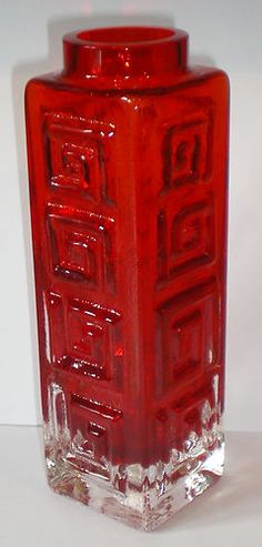 Whitefriars Glass Large Greek Key Vase Ruby Red Geoffrey Baxter