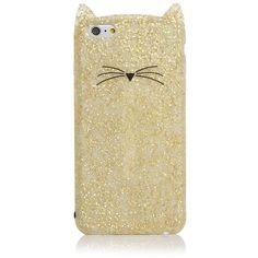 kate spade new york Glitter Cat iPhone 6 Plus Case (€47) ❤ liked on Polyvore featuring accessories, tech accessories and kate spade