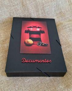 Arte lá em casa: Caixa/Pasta Organizadora de Documentos - Flamengo