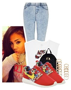 """Aloha"" by trampoline-bootiee ❤ liked on Polyvore featuring NIKE, Moschino and Forever 21"