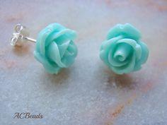 Handmade Aqua Stud Earrings  #ACBeads