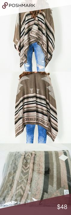 """Aztec Print Wrap New. 100% polyester. 30"""" width x 77"""" length. One size fits all. Feels plush, soft and comfy. Color: taupe with pink. Same day shipping. 20% bundle discount for 3. Accessories Scarves & Wraps"""