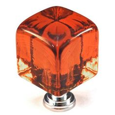 Cal Crystal Crystal Knob Size: Large, Post Finish: Polished Brass, Color: Blue